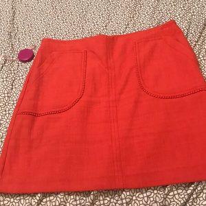LOFT orange red Pom Pom pocket skirt (size 14)